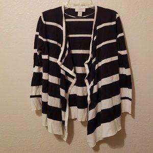 LOFT Navy & White Striped Cardigan